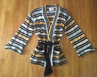 Vintage 70s stripe space dyed bell sleeve cardigan medium