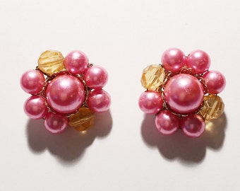 Vintage Pink and Orange Cluster Bead Clip On Earrings