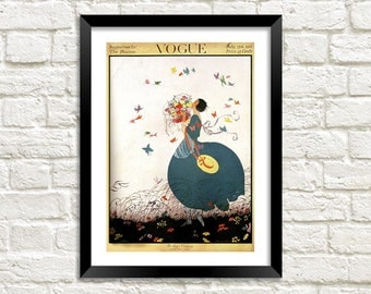 VOGUE MAGAZINE POSTER: Woman with Butterflies Magazine Cover, Blue Art Print Wall Hanging