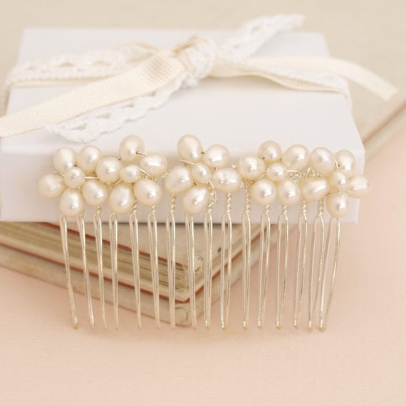 Real Flower Bridal Hair Accessories : Wedding pearl hair comb bridal accessory with ivory real