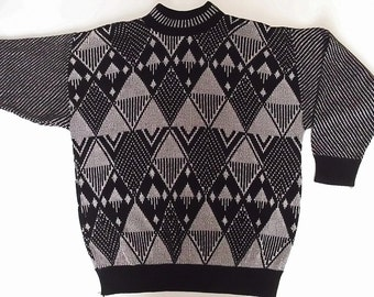 Vintage 80s Sweater - Ugly Sweater - Chevron - Long Sweater - Black Silver - Glitter Sparkle Sweater - Lady Disco