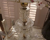 Bedside Glass Clear Hobnail Lamp with Prisms Vintage 50s Crystal Ice Boudoir lamp
