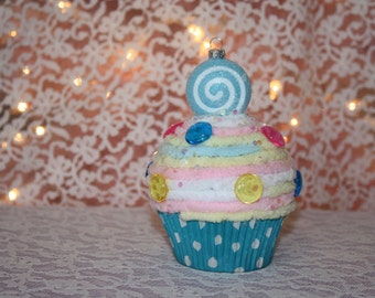 Faux Cupcake Ornament Fake Cupcake Christmas Ornament Holiday Decoration Cupcakes Whimsical Cupcakes