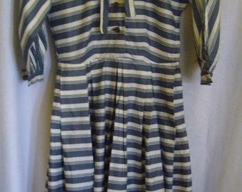 50's /60's Vintage Cotton Striped Full Skirt Dress