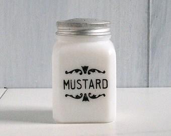 Vintage Spice Jar, Milk Glass, Black and White, MUSTARD, Cottage Decor, Farmhouse Kitchen