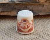 Tombstone Arizona Thimble  ~  Tombstone Arizona Bisque Souvenir Thimble  ~ Tombstone Arizona Thimble with Native American Pottery  ~ Arizona