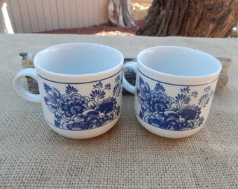 Espresso Mugs ~ Eversberg Made in West Germany Espresso Mugs  ~  Eversberg Holland Scene Blue and White Espresso Mugs ~ Eversberg Small Mugs