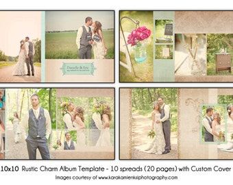 "RUSTIC CHARM - 10x10"" Wedding Album Template, 10 spread (20-page) Design with Custom Cover, Digital File"