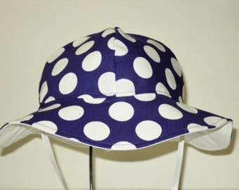 Baby Sun Hat, Purple Polka Dot Sunhat, Easter Hat, Summer Hat, Toddler Sun Hat, Cotton Beach Hat, Floppy Hat, Girl Clothes, Made To Order