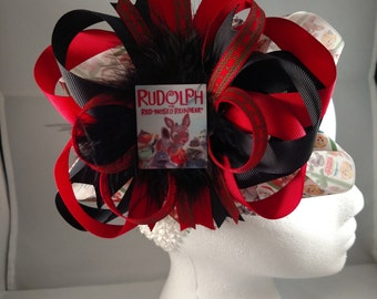 Christmas Classics Rudolph & Frosty Over-The-Top Hair Bow Hairbow