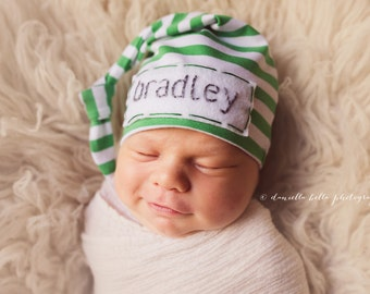newborn baby hat - slouchy beanie - knot hat - hospital hat boy - hospital hat- personalized gifts for newborn- boy hospital outfit