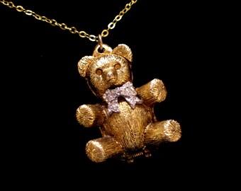 Teddy Bear Locket, Perfume Pendant, Adorable Vintage Teddy Bear Perfume Locket Pendant Necklace