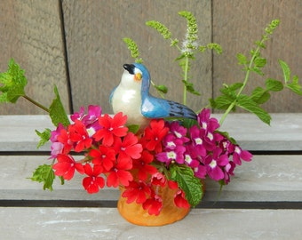Antique Japan Lusterware Blue Swallowtail Bird Flower Frog 1940s Excellent