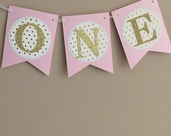 "Pink & Gold ""ONE"" High Chair Banner"