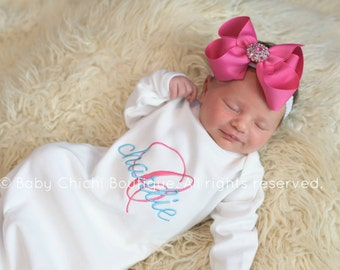 Newborn outfit coming home Newborn take home Baby girl gown Monogrammed Personalized newborn outfit Newborn girl outfit