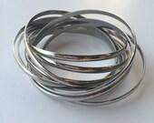 Unique 9 Ring Interlocking Rolling Bracelet Bangles -Silver Toned Metal- -Heavy-