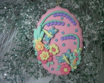 Dragon Flies On a Clay Oval With Beautiful Detailed Artwork Of Flowers Ornament,Gift,Year Round Ornament,Home Decor