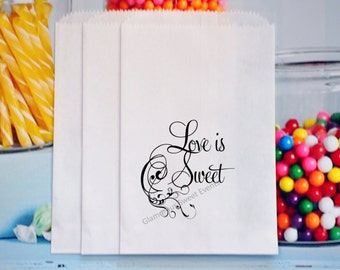 Love Is Sweet Candy Bags, Favor Bags, Treat Bags, Popcorn Bags, Party Favor Bags, Wedding Treat Bags, Bridal Shower Treat Bags, Goody Bags