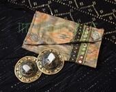 Small Assuit Zil Bag- Earthy Green, Peach & Blue Ikat Silk, Shi Sha Trim and Assiut Pouch