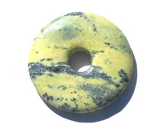 Stone Donut 45mm Natural Yellow Turquoise Stone Donut Pendant, Light Green, Green, Beading Supplies, Craft Beads