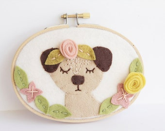 Pug Wall Art, Meditating Dog, Embroidery Hoop Art, Gift for Pug Lover, Boho Nursery Decor, Playroom, Baby Shower Gift, Animal Decoration