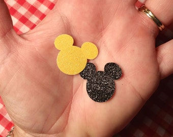 "Glittered Mickey Mouse ~ 1"" Glittered Mickey Mouse Cut-Outs, Cut from Hand-Glittered Paper, Disney Party, Wedding, Baby Shower, Craft Supply"