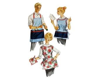 Apron, Pattern, Vintage Apron, Fifties Pattern, Simplicity 3206, Smock, Men's Apron, Women's Apron, Apron with Pockets