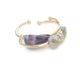 Purple Amethyst Bracelet,Large Chunky Purple Amethyst Statement Cuff Bracelet, Brass Cuff, Natural Stone Cuff, Purple Cuff Bracelet
