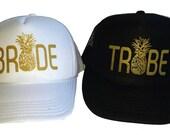Bride Tribe Pineapple Black Gold Glitter Team Bride  Mesh Trucker Hat Cap Snapback Bachelorette Party
