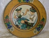 """German Folk Art Plate Hand Painted Wood Large 10"""" Vintage 1953 Wall Hanging Man and Woman Dancers in German Costumes Ready to Hang Flowers"""