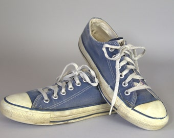 80s Converse Made In USA Blue Chuck Taylor Low Top Converse Allstars, 7 Womens 5 Mens