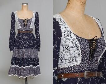 70s Gunne Sax Black Floral Corset Up Bohemian Prairie Dress