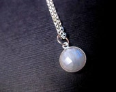 Small Moonstone Necklace - Gemstone - Natural - Round Pendant - Custom Length - Simple Everyday Fashion