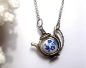 Flower Teapot Necklace - Forget Me Not - Flower Necklace - Blue Flower - Porcelain Teapot - Custom Chain Length