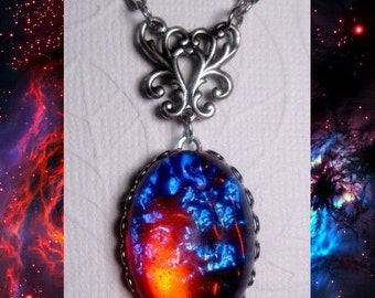 Opal Necklace - Galaxy Stone - Dragons Breath - Custom Chain Length - Fire Opal - Christmas Gift