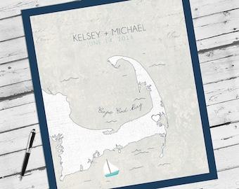 Cape Cod Wedding, Cape Cod Map,  Guest Book Alternative, Cape Cod Wedding Gift, Massachusetts Wedding, New England Wedding