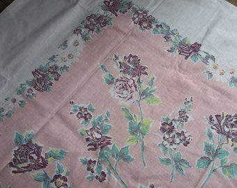 """Mid Century LINEN Tablecloth...Cottage Chic...65"""" by 77""""...Beautiful  Florals ROSES...Free Shipping"""