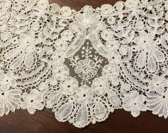 """EXTRAORDINARY Antique French Lace Collar """"Large"""" Handmade FRENCH ALENCON Needle Lace...Lace Collector"""