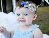 Ana- denim headband, burlap bow, shabby headband, denim flower, baby headband, vintage style headband, flower headband, newborn headband
