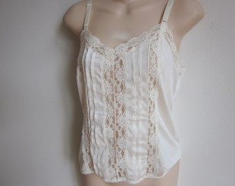 Vintage slip camisole cami ivory white lace sexy lingerie 34 bust S m