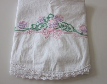 Vintage Cotton Pillowcase embroidered & crocheted chic cottage