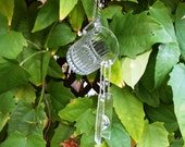 Heisey Stained Glass Suncatcher Wind chime with Crystal Heart, Depression Glass Creamer recycled Glass Garden Decor, Handmade OOAK Windchime
