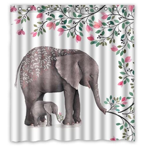 Elephant shower curtain bathroom decor elephant shower for Elephant bathroom accessories