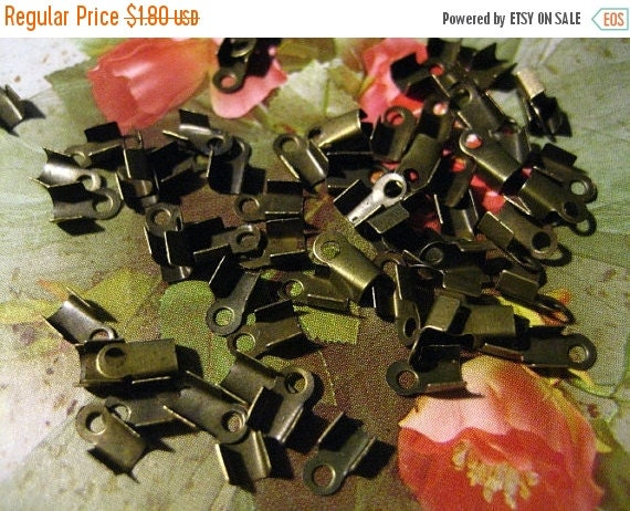 20% OFF 3.5x5.5mm Antique Bronze Fold Over Cord Ends, 100 PC