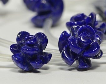 Lapis Lazuli 10mm 2 Beads Carved Rose Bead  Natural Gemstone Bead Jewelry Making Supplies