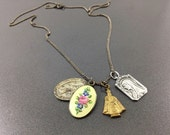 Superb Antique Charms Religious Guilloche Necklace Catholic,Pope, Mary Sterling Necklace, Victorian Floral Roses Enamel.
