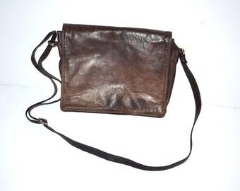 80s vintage brown leather shoulder bag crossbody organizer men sport bag Fathers Day gift for him