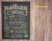 "First birthday chalkboard style custom ink drawing on 15""x20"" art board, the original Favorite Things Poster™"
