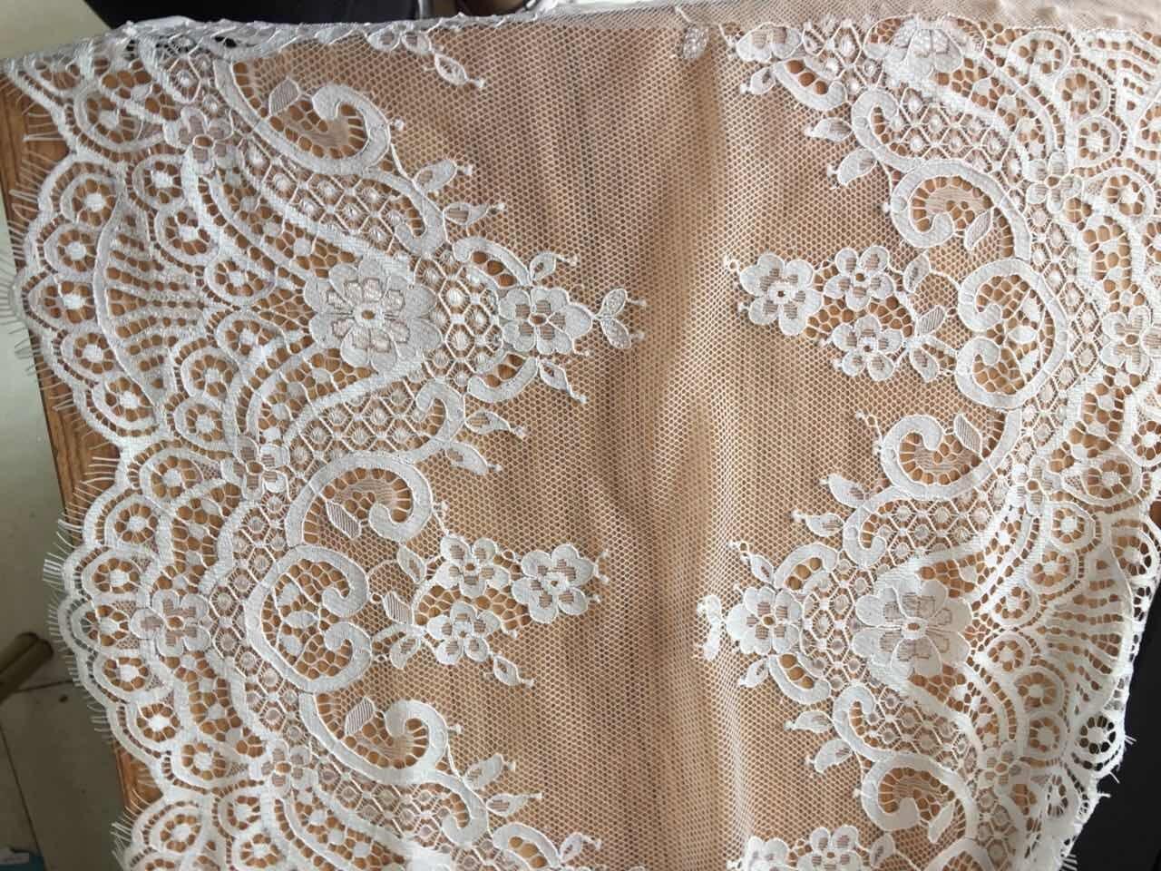 Ivory Chantilly Lace Fabric Trim Bridal Wedding Gown Eyelash