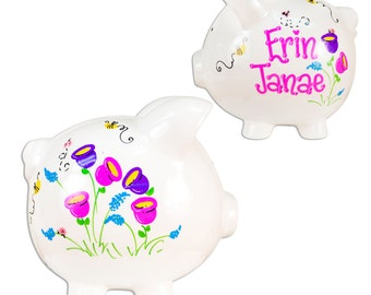Hand Painted Personalized Piggy Bank for girls Ceramic White Piggy Bank Hot Pink Bright Flowers English Garden Design custom banks PIGGwhi42